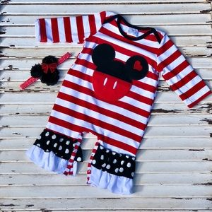 Other - Boutique Mickey Mouse Minnie Bow Romper Outfit NEW